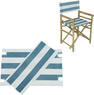Zew Replacement UV Treated Color Durable Canvas for Bamboo Folding Directors Chairs, Navy Striped