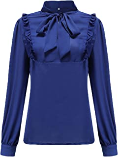 Womens Chiffon Bow Tie Neck Blouse Long Sleeve Casual Work Office Tops Shirt