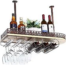Kitchen Storage Organisation Ceiling Hanging Mounted Solid Wood Wine Rack Wine Glass Metal Hanging Rack Goblet Holder Shel...