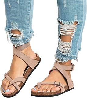 Chenghe Women's Flat Ankle Buckle Sandals Gladiator Thong Flip Flop Mayari Sandals