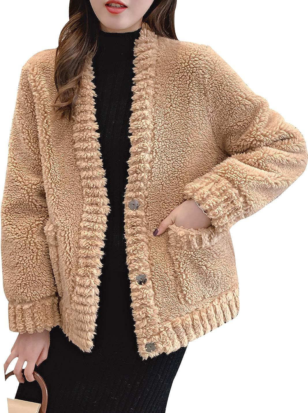 Yimoon Women's Winter Warm Fluffy Faux Fur Jacket Coat with Long Sleeve