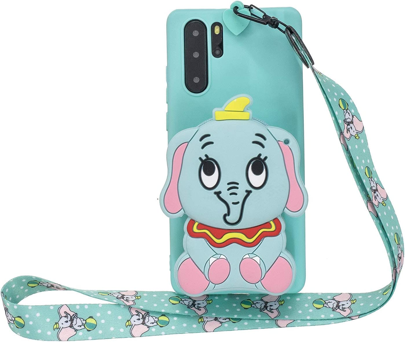 DAMONDY for Galaxy Note 10 Plus Case,3D Cartoon Cute Pocket Purse Zipper Wallet Stand Holder Cover Soft Silicone Protective Case with Lanyard Strap for Samsung Galaxy Note 10 Plus-Blue Elephant