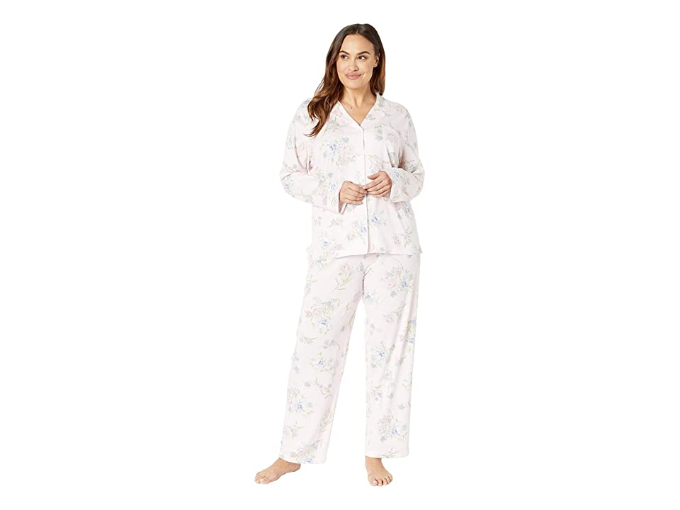 LAUREN Ralph Lauren Plus Size Knit Notch Collar Pajama Set (Pink Floral Print) Women