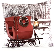 HISC, Inc. Ultimate Christmas Pillow Glowing LED Light for Living Room, Sofa, Couch Luminous Holiday Pillow 16x16 - Sleigh