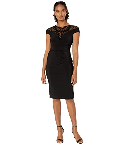 Adrianna Papell Illusion Sequin Neckline Jersey Cocktail Dress (Black) Women