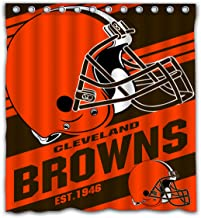Potteroy Cleveland Browns Team Stripe Design Shower Curtain Waterproof Polyester Fabric 66x72 Inches