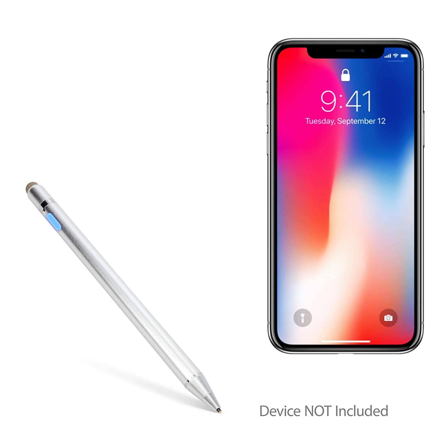 Apple iPhone Xs Max Stylus Pen, BoxWave [AccuPoint Active Stylus] Electronic Stylus with Ultra Fine Tip for Apple iPhone Xs Max - Metallic Silver