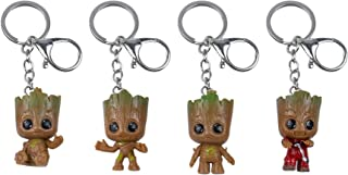 AUEAR, Set of 4 Cute Baby Groot Key Chain Grut Key Ring Guardians of The Galaxy Miniature Pendant Keychains