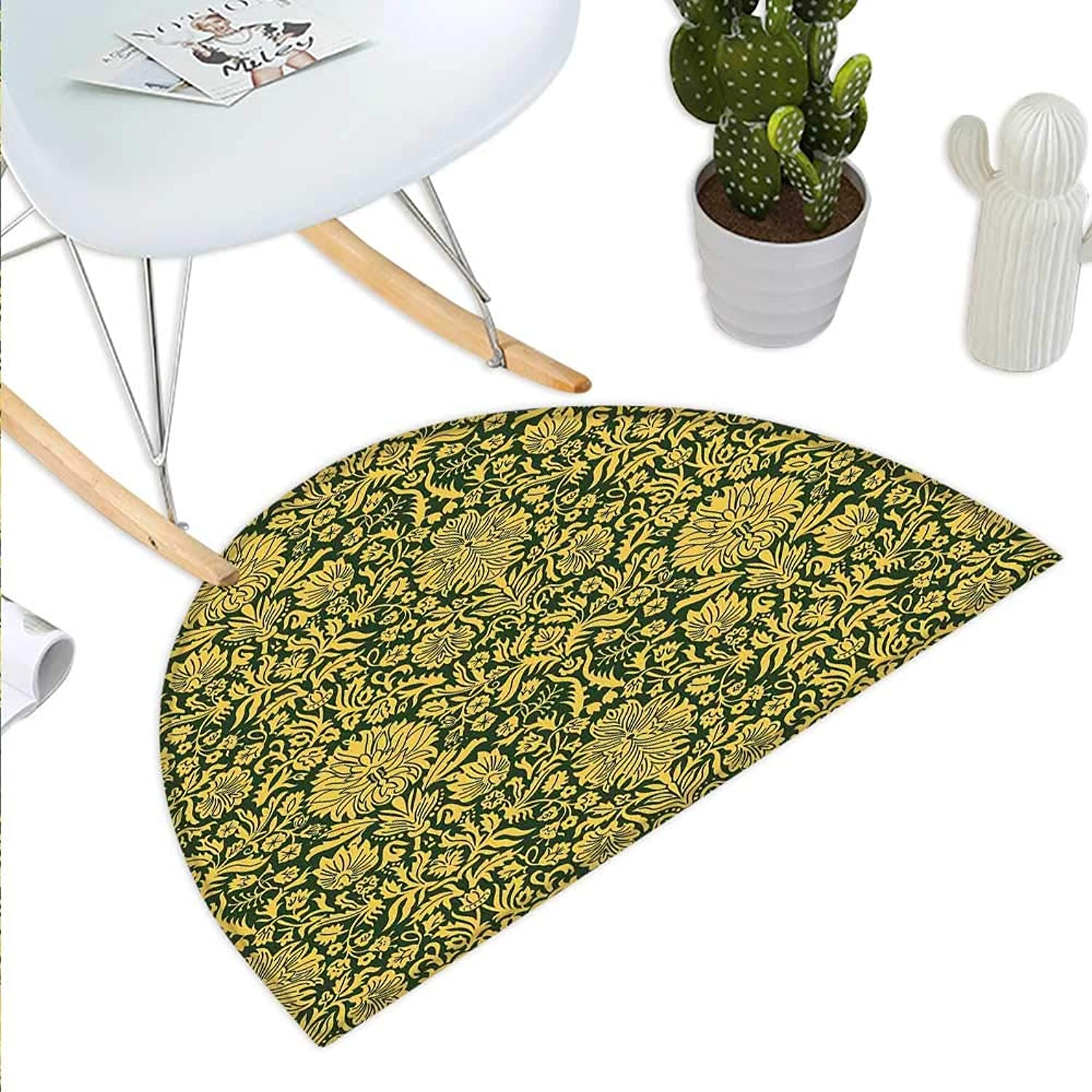 Floral Semicircle Doormat Victorian Baroque Flower Motifs with Swirl Petals and Branches Print Halfmoon doormats H 43.3  xD 64.9  Hunter Green Earth Yellow