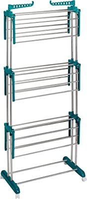 Amazon Brand - Solimo Stainless Steel & Plastic 3 Level Cloth Drying Stand with Wheels, Multicolour