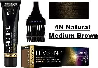 Joico LUMISHINE Repair+ PERMANENT Creme Hair Color (with Sleek Applicator Brush) Cream Haircolor (4N Natural Medium Brown)