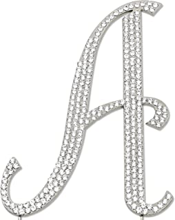 Sparkly Rhinestones Letter A Cake Topper, Birthday Wedding Anniversary Silver Initial A