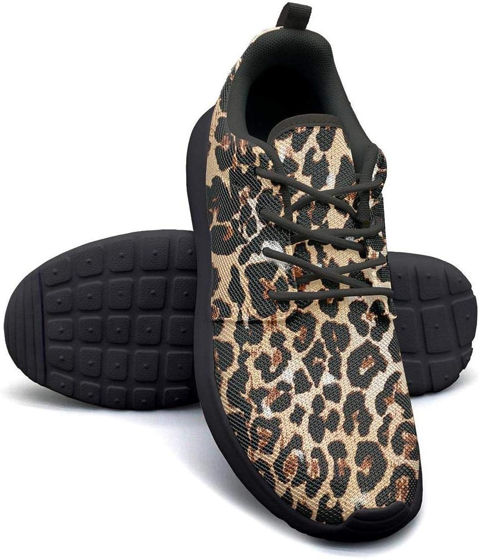 YSLC Brown Leopard Print Running shoes Lightweight Women Sneaker Walking Comfort shoes
