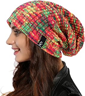 Ruphedy Women Oversized Slouchy Beanie Knit Hat Colorful Long Baggy Skull Cap for Winter