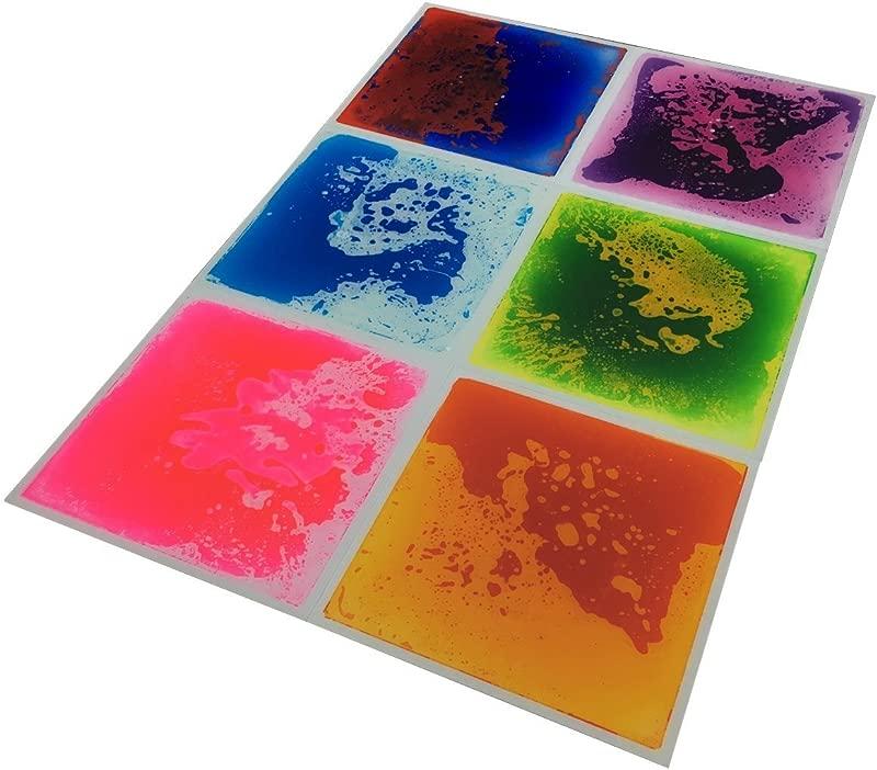 Art3d 6 Tile Multi Color Exercise Mat Liquid Encased Floor Playmat Kids Safety Play Floor Tile 16 Sq Ft