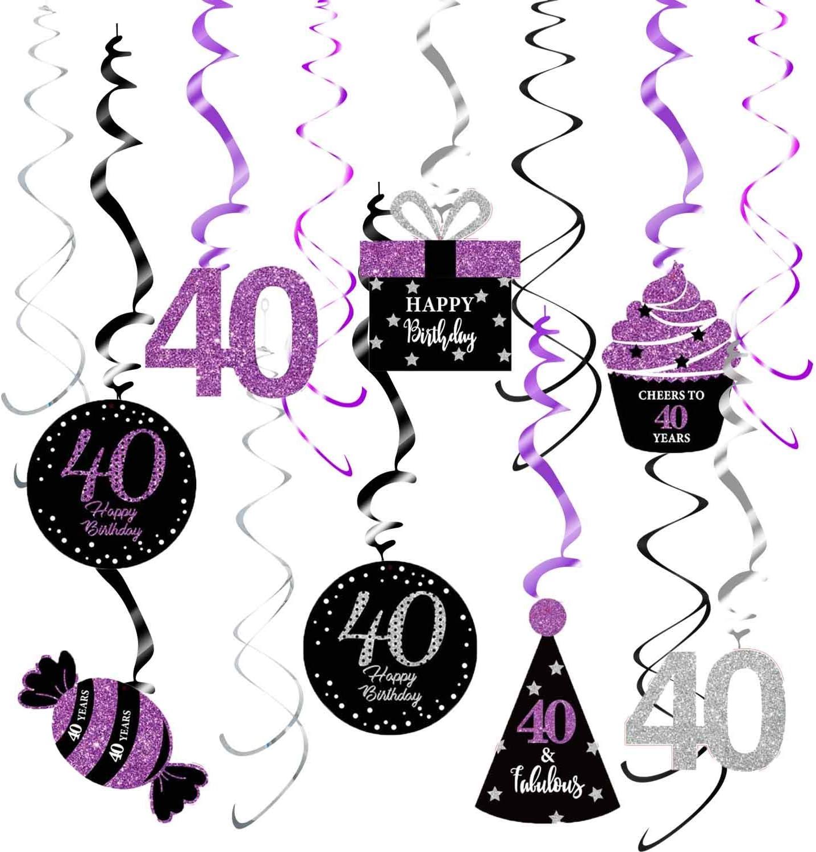 40th Birthday Decorations Purple Black Silver for Women Qian's Party Purple Silver Black Foil Hanging Swirls Decorations 40th Birthday Party Hanging Decor – Women 40th Birthday Party Decoration Swirls