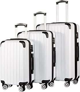Coolife Luggage Expandable 3 Piece Sets PC+ABS Spinner Suitcase 20 inch 24 inch 28 inch (white grid)