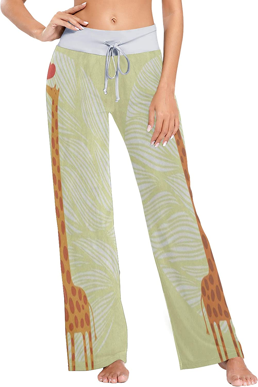 Womens Pajama Lounge Pants Valentine Giraffe Love Yellow Cute Wide Leg Casual Palazzo Pj Sleep Pants Girls