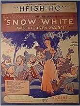 Rare Walt Disney's Snow White & The Seven Dwarfs Original 6 Page Sheet Music Score - Heigh-Ho(Dwarfs' Marching Song) - Disney Cartoon Cover - Bourne Music Publishers - 1938