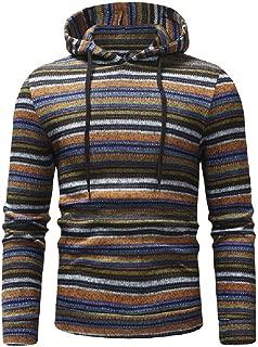 MogogoMen Drawstring Fall Winter Slimming Pullover Stripes Hoodies Sweater