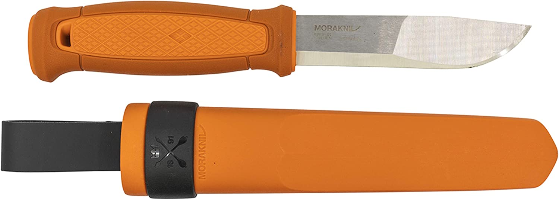 Morakniv Kansbol Fixed Blade Knife with Sandvik Stainless Steel Blade and Plastic Sheath, Burnt orange 4.3Inch