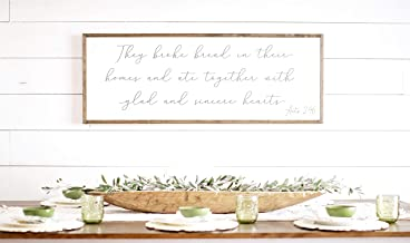 Framed Wood Sign Rustic Wooden Sign They Broke Bread in Their Homes They Broke Bread Wood Sign Framed Wood Signs Large They Broke Bread Wood Sign 6 x 20 Inch Decorative Sign