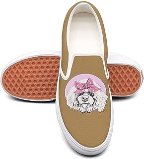 LLOOWWXXP Cute Poodle in A Pink Bow Headband Men's Canvas Classic Slip-On Skate Shoe