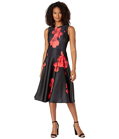Calvin Klein Floral Print A-Line Dress (Red) Women