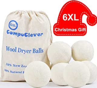 Wool Dryer Balls 6-Pack XL Laundry Dryer Balls Reusable Natural Fabric Softener Handmade Dryer Balls 100% New Zealand Wool Organic Dryer Balls for 1000+ Loads Reduce Wrinkles & Shorten Drying Time