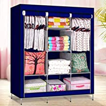 HNESS Collapsible Clothes Storage Wardrobe Cupboard with Shelves Cabinet/Dust-Proof Multipurpose Foldable Portable Non-Wov...