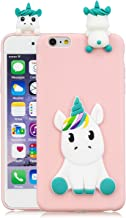 HopMore Compatible con Funda iPhone 6S Plus/iPhone 6 Plus Silicona Dibujo 3D Divertidas TPU Gel Kawaii Ultrafina Slim Case Antigolpes Caso Protección Design Carcasas Gracioso - Unicornio Rosa