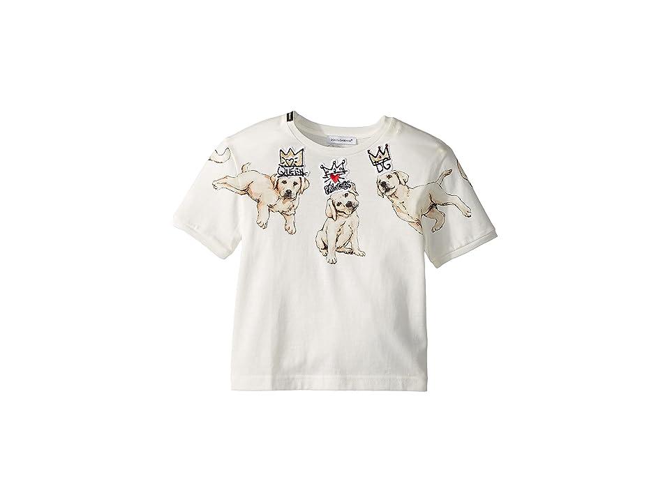 Dolce & Gabbana Kids Dog T-Shirt (Toddler/Little Kids) (White Print) Girl