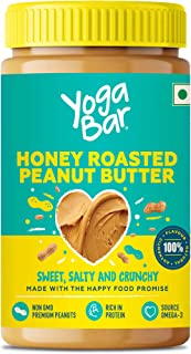 Yogabar Honey Roasted Peanut Butter 1 kg | Sweet, Salty and Crunchy | Non GMO Peanut Butter | Omega 3 | Rich in Protein - 1kg