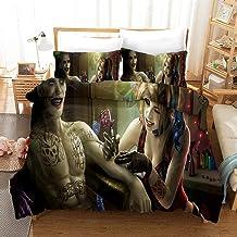 Parure de lit 220 x 240 cm avec motif Harley Quinn Squad Parure de lit 3 pièces Housse de couette en microfibre (#16)