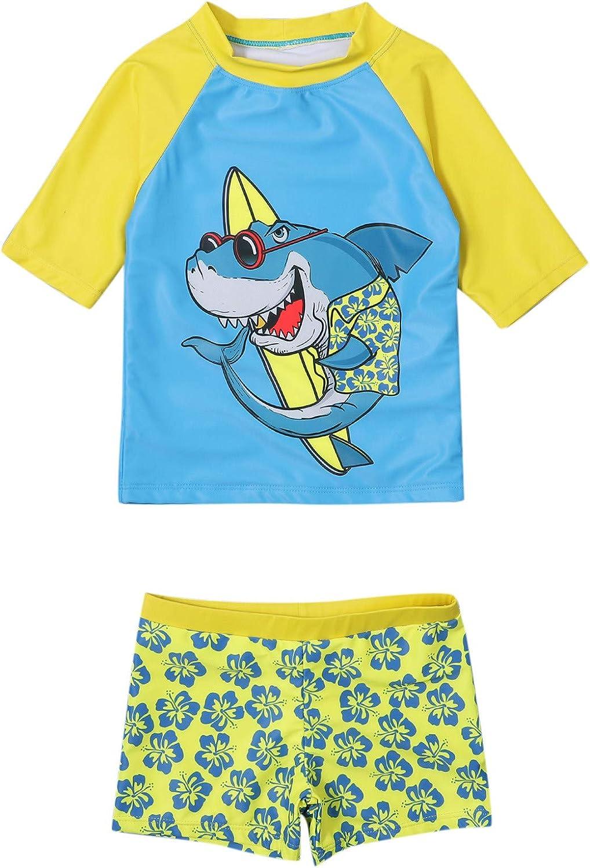 Quick Dry Swimwear for Kids,Toddler Kids Boys Shark Floral Short Sleeve Swimwear Swimsuit Summer Outfits Set