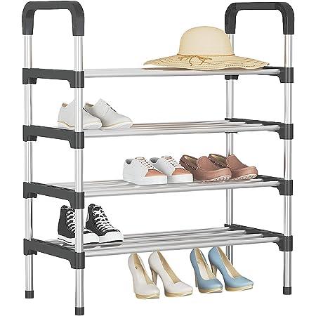 UDEAR Range Chaussures 4 Étages Organisateur de Rangement de Chaussures Noir 56 * 30 * 80 CM