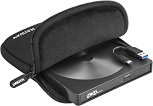 Haiway External CD DVD Drive USB 3.0 Type-C Portable CD/DVD ROM Drive Burner Rewriter with Protective Storage Carrying Case Bag for Windows Linux Mac Laptop Desktop, MacBook Pro/ Air, iMac