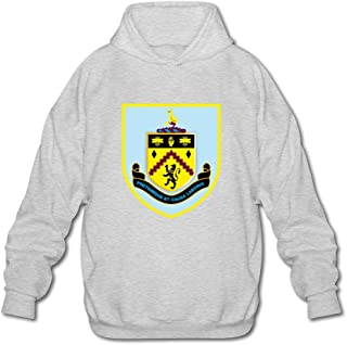 Men's Burnley FC Logo Long Sleeve Hoodies Sweatshirt Black Latest By Rahk