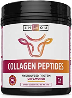 Zhou Collagen Peptides Hydrolyzed Powder | For Vital Joint & Bone Support, Glowing Skin, Strong Hair & Nails, Digestive Health | Unflavored | 18 oz (Packaging may vary)