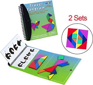 USATDD Tangram Game Green Magnetic Puzzle Travel Games Jigsaw with Solution Questions Kid Adult Challenge IQ Book Colorful Shapes Pattern STEM Brain Teasers Toy for 3-100 Years Old 【2 Set of Tangrams】