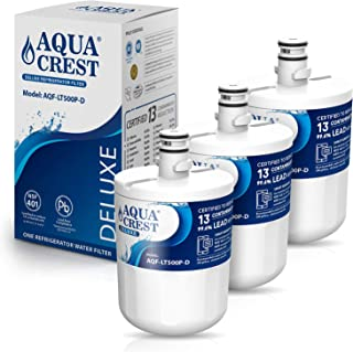 AQUACREST 5231JA2002A Refrigerator Water Filter, NSF 401, 53&42 Certified to Reduce 13 Contaminants, Compatible with LG LT500P, 5231JA2002A, ADQ72910901, ADQ72910907, Kenmore 9890, 46-9890 (Pack of 3)