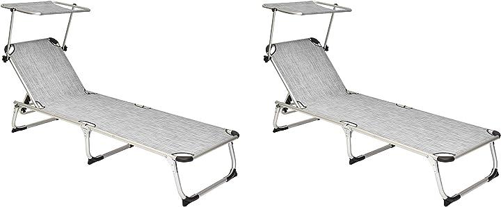 Coppia lettini pieghevoli colore grigio mare piscina giardino con parasole xone ?5537-GAR00743-2PZ