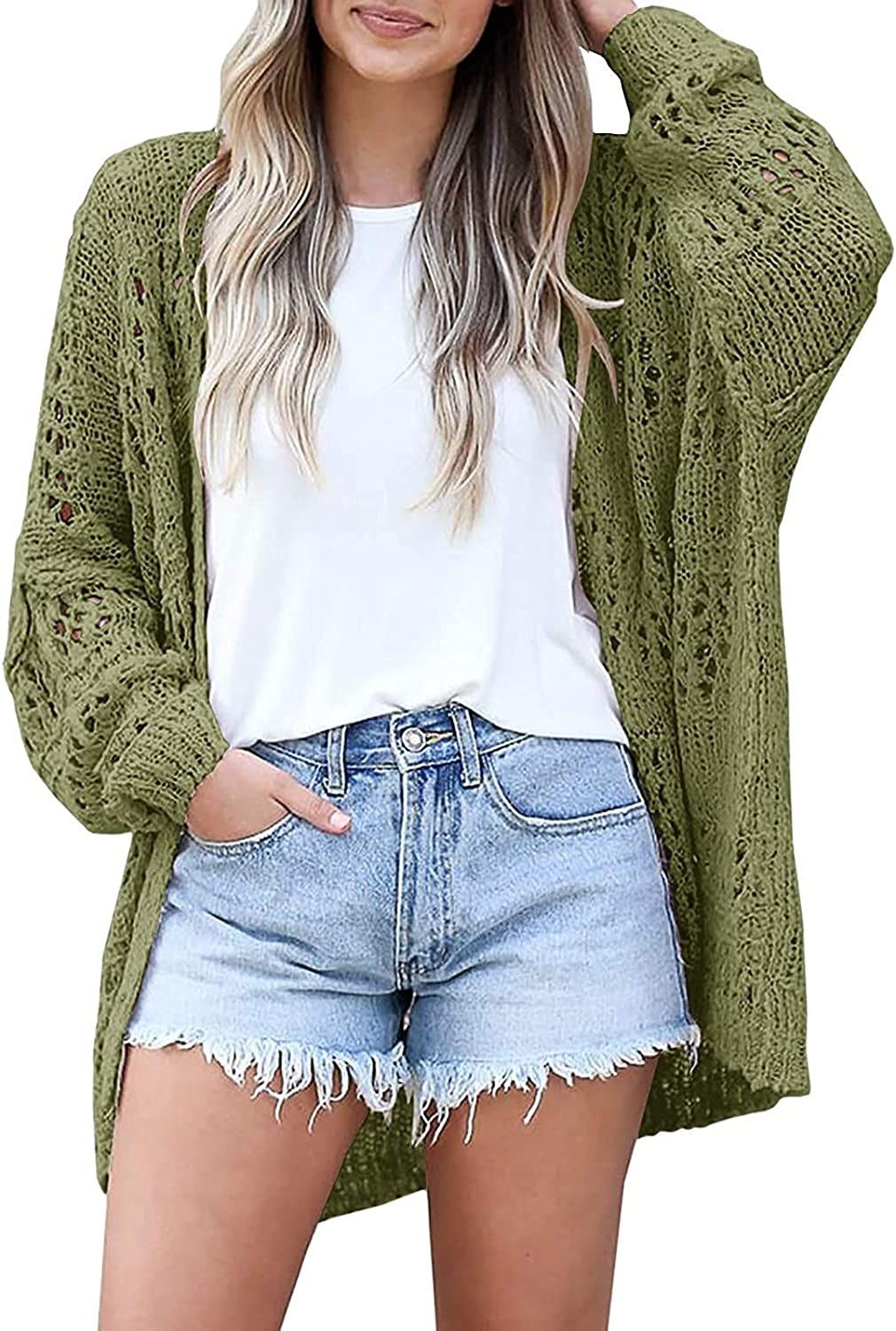 Women's Crochet Cardigan Kimono Solid Color Long Sleeve Lightweight Soft Oversized Open Front Knitted Sweater