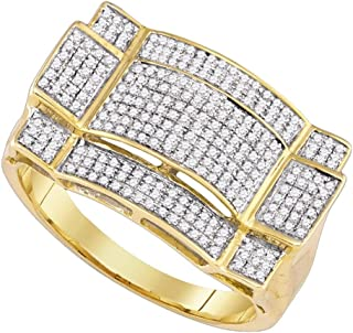 Rectangle Mens Diamond Ring Solid 10k Yellow Gold Round Pave Band Fashion Style Polished Fancy 1/2 ctw