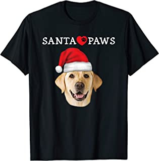 Santa Paws Yellow Lab Portrait Labrador Xmas Heart T-Shirt