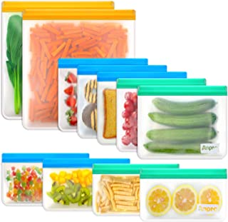 Reusable Sandwich Bags Food Storage - Anpro (11 Pack) Snack Bags for Kids with Double Zipper Seal Lock, Freezer Safe & Lea...