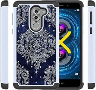 Huawei Honor 6X Case,Vfunn [Shock Absorption] Studded Rhinestone Bling Hybrid Dual Layer Armor Protective Case for Huawei Honor 6X (Diamond)