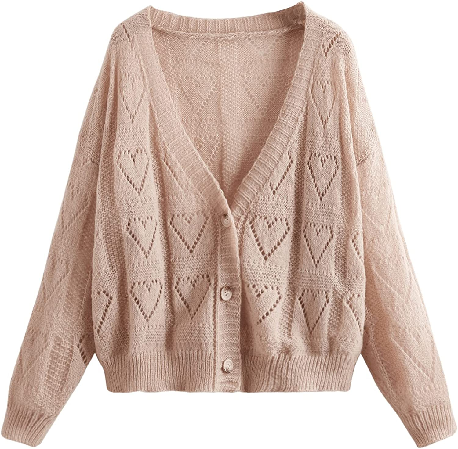 SOLY HUX Women's Plus Size Deep V Neck Long Sleeve Button Down Cardigan Sweater