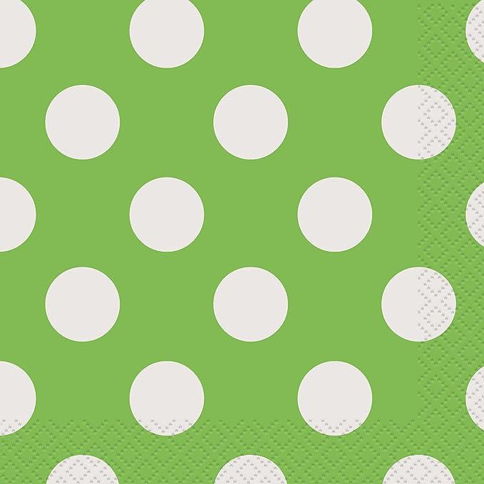 16ct Yellow Polka Dot Beverage Napkins