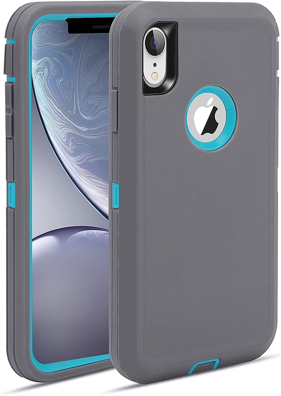 MAXCURY for iPhone XR Case, Heavy Duty Shock Absorption Full Body Protective iPhone XR Case with Hard PC Bumper + Soft TPU Back Cover for iPhone XR Not Built in Screen Protector (Grey/Turquoise)